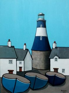 A blue and white lighthouse on the quay with houses and boats. Painted in a naïve style on box canvas with the image around the edges so that a frame is not needed.