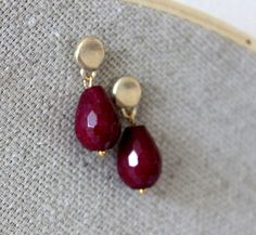 NEW ruby red earrings  lovely post with faceted by anthology27, $15.95