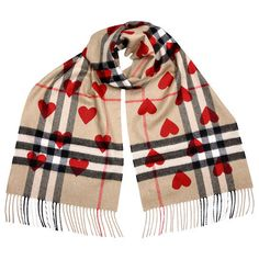 Time limited sale Classic Cashmere Scarf in Check and Hearts