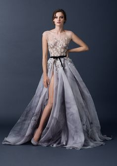 Printed signature petal skirt with illusion bodice and floral embroidery from the Paolo Sebastian 2015 AW collection // The Sleeping Garden: Paolo Sebastian's Autumn/Winter 2015 Collection
