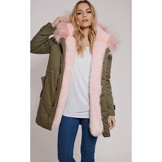 Jen Pink Fur Lined Premium Parka Coat ($88) ❤ liked on Polyvore featuring outerwear, coats, pink, fur lined parka, pink coat, fur lining coat, pink parka and fur-lined coats