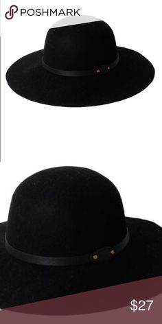 Wool Felt Floppy With Pu Band With 2 Studs Hat Fall wool fedora hat with wide brim and grained pu band with 2 studs. Brand new with tags never worn.   -100% wool  -One size  -Import D&Y Accessories Hats