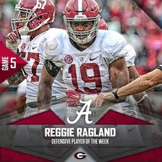 Reggie Ragland. Defensive Player of the Week. #BAMAvsUGA #RollTide