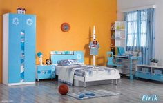 Cheerful Children's Room Decorating Ideas for Boys, Girls, and Twins: Excellent Children's Room Decorating Ideas For Boys Paint Orange Blue Design For Childrens Bedroom Design Furniture Blue Wardrobe Headboard Basket Ball On Shiny Grey Flooring Decorations ~ enferd.com Bedroom Inspiration