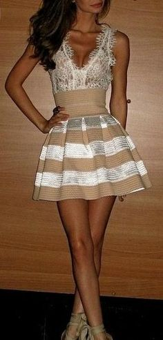 party cream and tan dress