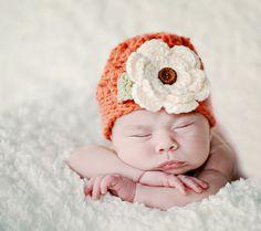 Newborn Crochet Baby Beanie Hat in Pumpkin with Cream by onajeans, $19.50