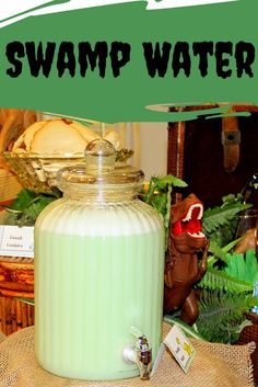 This Swamp Water Punch (aka Lime Sherbet Punch) is perfect for a Dinosaur Party.  It would also be prefect for a jungle party.