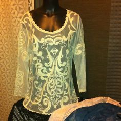 Lace top whiteish cream Long sleeve lace top runs small Express Tops