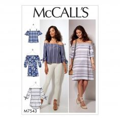 McCalls Ladies Easy Sewing Pattern 7543 Off The Shoulder Tops, Tunic & Dress | Sewing | Patterns | Minerva Crafts