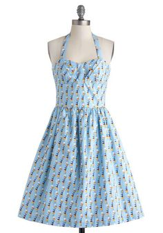 Wave Your Pennant Dress - Exclusives, Cotton, Long, Blue, Multi, Print, Casual, Fit & Flare, Halter, Sweetheart, Pockets, Summer