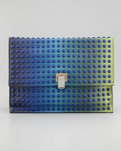Large Studded Ombre Lunch Bag Clutch, Blue/Green by Proenza Schouler at Bergdorf Goodman.