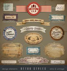 Vintage en retro designelementen - Stockillustratie: 15548537