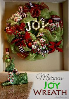 A Christmas Joy Marquee Wreath perfect holiday home decor!