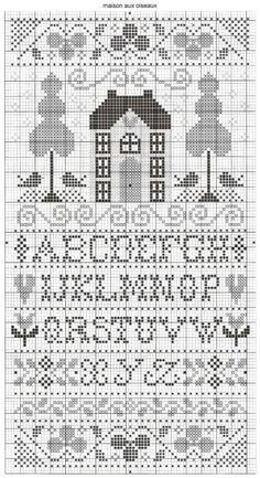 ru / Photo n ° 30 - Maisons - Viki-Kitti Cross Stitch Sampler Patterns, Cross Stitch Freebies, Embroidery Sampler, Cross Stitch Alphabet, Cross Stitch Samplers, Cross Stitch Designs, Cross Stitching, Cross Stitch Embroidery, Cross Stitch House