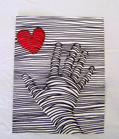 """I found this easy but very cool project on a wonderful blog called """"TeachKidsArt"""".  It was a very do-able project for my participants and they loved the 3-D results.  A different spin on a Valentine's Day art project."""