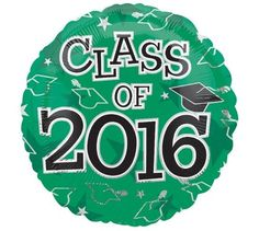 Anagram Class of 2016 Grad Caps Round Mylar 18' Foil Balloon, Green Black