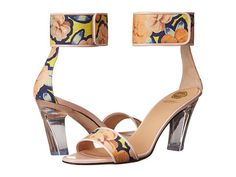 VIKTOR & ROLF Mid-Heel Ankle Strap Sandal.  Set the stage for stunning style in these Viktor & Rolf® sandals. Leather and textile upper with floral pattern allover.  Halo ankle strap with hook and loop closure.  Very cool clear lucite geometric heel.  Made in Italy.