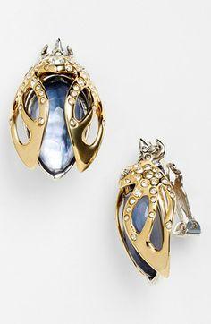 Alexis Bittar Jardin Mystère Beetle Clip Earrings