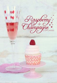 Champagne & Raspberry Cupcakes by Lauren Kapeluck  |  TheCakeBlog.com