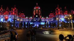 Mumbai's one of the most iconic building Chhatrapati Shivaji Terminus (CST) lit up in French Tri-Color to support France and people of Paris in moment of grief #CST #Mumbai #Railway #Station #FrenchFlag #ParisAttacks