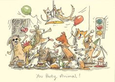 M158 YOU PARTY ANIMAL  a Two Bad Mice Greeting Card by Anita Jeram