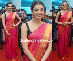 kajal aggarwal silk saree sleeveless blouse