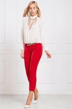 İRONİ DAR PAÇA KIRMIZI PANTOLON Capri Pants, Fashion, Moda, Capri Trousers, Fashion Styles, Fashion Illustrations