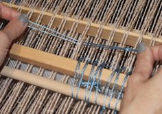 A weaver recently e-mailed me to ask why use a heddle rod in the Spa Set Pattern mat instead of two pick-up sticks? The quick answer is that in this particular pattern, if you placed two pick-up s… Inkle Loom, Loom Weaving, Textiles Techniques, Weaving Techniques, Tablet Weaving, Hand Weaving, Braided Rag Rugs, Weaving Projects, Weaving Patterns
