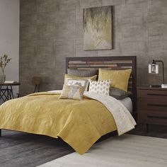 The INK+IVY Kandula Coverlet Set provides all the elements of a unique, casual look for your bedroom. The rich, mustard yellow color is accentuated with dark quilting featuring adorable elephants and flowers. The reverse side is a lighter off white color while the quilting remains dark colored for a completely different look on the reverse. Whether you are using this coverlet as a layering piece to your current set or as a focal piece all on its own, the Kandula collection is sure to be a…