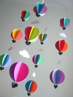 Palloni ad aria calda Mobile bambino & di youngheartslove su Etsy