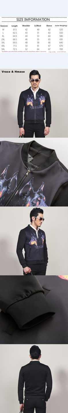 American style personality 3D wolf head printing fashion slim coat jacket Autumn&Winter thicker cotton boutique jacket men M-5XL