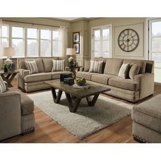 Nakia 2 Piece Living Room Set - All For Decoration Living Room Sets, Home Living Room, Living Room Designs, Living Room Decor, Living Area, Living Room Furniture Sets, Farmhouse Living Room Furniture, Design Industrial, Industrial Basement