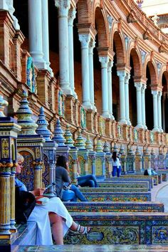 Beautiful Plaza De España in Sevilla Spain. *this was by far one of my most fav places b/c of all the beautiful colors Places Around The World, Oh The Places You'll Go, Travel Around The World, Places To Travel, Around The Worlds, Malaga, Beach Paradise, Wonderful Places, Beautiful Places