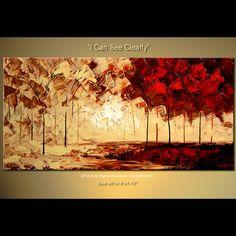 ORIGINAL Abstract Tree Cherry Blossom Impasto Landscape by osbox, $300.00
