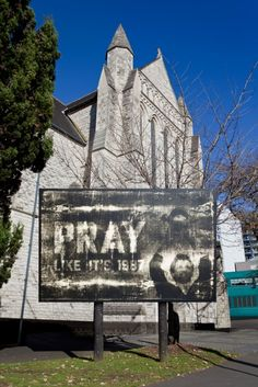 St Matthews in the City Church in Auckland, NZ, is known for its controversial billboards. 2011