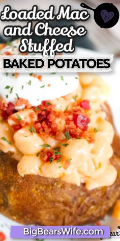 Loaded Mac And Cheese Recipe, Boxed Mac And Cheese, Mac And Cheese Homemade, Cheese Recipes, Potato Recipes, Stuffed Baked Potatoes, Beef And Potatoes, Loaded Baked Potatoes, Fun Easy Recipes