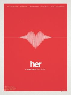 #Poster  - Her Movie 2013 poster design  by Hunter Langston. movie poster  heart beat ekg beat forms heart wave form pattern   Joaquin Phoenix, as Theodore Twombly falls in love with OS1 Samantha computer operating system phone artificial intelligence love AI