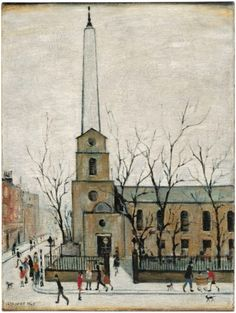 Laurence Stephen Lowry, R. St Luke's Church, Old Street signed and dated 'L. LOWRY (lower left) oil on canvas 24 x 18 in. Salford, English Artists, French Artists, Nostalgic Art, Engraving Illustration, Spencer, Old Street, Urban Life, London Art