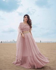 Pink net lehenga choli party wear lengha blouse Indian dress for women's latest design custom stitch - Lehenga Gown, Lehnga Dress, Party Wear Lehenga, Party Wear Dresses, Pink Lehenga, Net Lehenga, Floral Lehenga, Wedding Dresses, Indian Party Wear