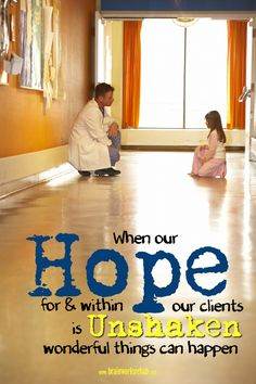 When our hope for & within our clients is unshaken wonderful things can happen.