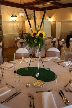 Sunflowers and golf Clubs, so fun for a golf themed wedding www.flowerno5.com
