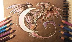 Moon dragon by AlviaAlcedo beautiful dragon Mythological Creatures, Fantasy Creatures, Mythical Creatures, Beautiful Drawings, Cool Drawings, Amazing Drawings, Fantasy Dragon, Fantasy Art, Dragon Oriental