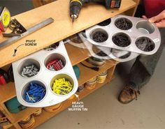 Cool ways to organize your garage with recycled items.
