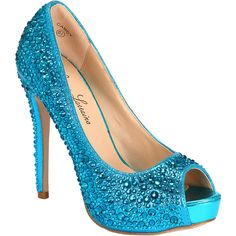 Lauren Lorraine Women's Candy Pumps ($135) ❤ liked on Polyvore featuring shoes, pumps, heels, turquoise, sparkly shoes, peep-toe pumps, sexy shoes, glitter peep toe pumps and sexy platform pumps