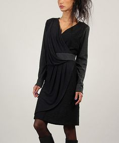 Another great find on #zulily! Black Surplice Drape Dress #zulilyfinds