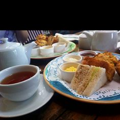 Devonshire cream afternoon tea set at Fosters English Rose Cafe