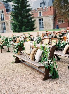 Benches with flowers and cushions