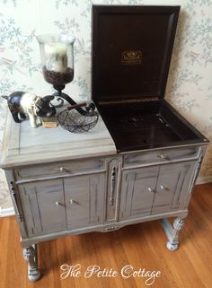Refinished Victor Victrola in Annie Sloan Paris Grey Chalk Paint Furniture Sliders, Distressed Furniture Painting, Diy Furniture, Upcycled Furniture Before And After, Furniture, Upcycled Furniture, Distressed Furniture, Diy Furniture Sliders, Repurposed Furniture