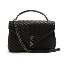 Saint Laurent Collège large quilted-leather shoulder bag (153.385 RUB) ❤ liked on Polyvore featuring bags, handbags, shoulder bags, black, quilted leather purse, yves saint laurent, quilted purses, quilted leather handbags and monogrammed handbags