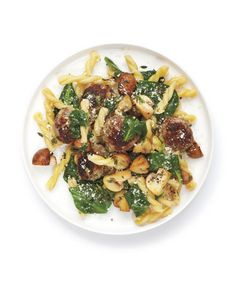 Pasta With Spinach and Meatballs: Toss the pasta with a savory mixture of buttery mushrooms, baby spinach, meatballs, and grated pecorino.